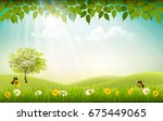 summer nature background with... | Shutterstock .eps vector #675449065
