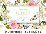vector botanical horizontal... | Shutterstock .eps vector #675453751