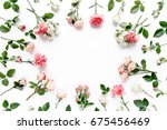 round frame with pink buds of... | Shutterstock . vector #675456469