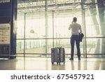 view of businessmen with... | Shutterstock . vector #675457921