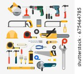 set of tools for repair and... | Shutterstock . vector #675464785
