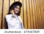 smiling cute japanese woman... | Shutterstock . vector #675467839