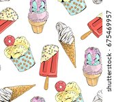 seamless pattern with ice cream.... | Shutterstock .eps vector #675469957