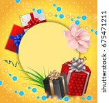 greeting card  presents on dot... | Shutterstock .eps vector #675471211