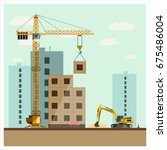 construction site with... | Shutterstock .eps vector #675486004