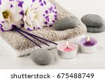 spa composition with towels ... | Shutterstock . vector #675488749