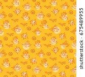 hand drawn summer seamless... | Shutterstock .eps vector #675489955