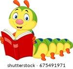 cartoon caterpillar reading book | Shutterstock . vector #675491971