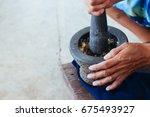 make food  cooking mortar stone | Shutterstock . vector #675493927