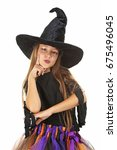 Beautiful Girl Witch On A Whit...