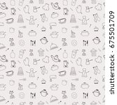 kitchen seamless pattern   Shutterstock .eps vector #675501709