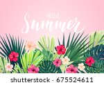 floral horizontal postcard... | Shutterstock .eps vector #675524611