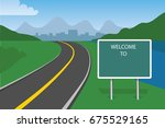 traffic sign welcome to with... | Shutterstock .eps vector #675529165