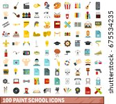 100 paint school icons set in... | Shutterstock .eps vector #675534235