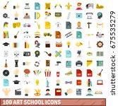 100 art school icons set in... | Shutterstock .eps vector #675535279