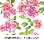 pink roses with leaves painted... | Shutterstock . vector #675536224