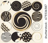 vector set of 12 1 round label... | Shutterstock .eps vector #675536587