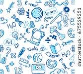 back to school seamless vector...   Shutterstock .eps vector #675539251