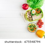 healthy food concept  lunch box ... | Shutterstock . vector #675548794