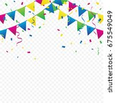 colorful party flags and... | Shutterstock .eps vector #675549049