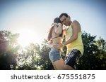 dance couple training bachata... | Shutterstock . vector #675551875