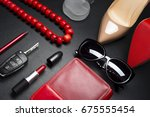 woman accessories  shoes ... | Shutterstock . vector #675555454