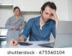 sad family man trying to find a ... | Shutterstock . vector #675560104