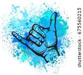 shaka hand sign   Shutterstock .eps vector #675560215