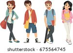 cute cartoon children with... | Shutterstock .eps vector #675564745