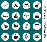 set of 16 editable camping... | Shutterstock .eps vector #675568081