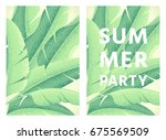 summer party poster. banana... | Shutterstock .eps vector #675569509