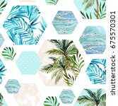 abstract summer hexagon shapes... | Shutterstock . vector #675570301