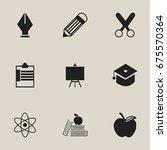 set of 9 editable school icons. ...