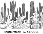seamless pattern with cactus.... | Shutterstock .eps vector #675570811