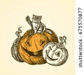 halloween. black cat sitting on ... | Shutterstock .eps vector #675570877