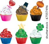 Vector of six different Holiday Cupcakes. Christmas, Halloween, Thanksgiving, Valentines Day , Independence Day and St. Patricks Day. - stock vector