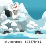 cartoon winter happy and funny... | Shutterstock . vector #675578461