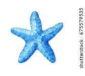 illustrations of blue starfish. ... | Shutterstock . vector #675579535