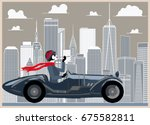 Flapper Girl In A Retro Car On...