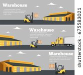 warehouse flyer set with... | Shutterstock .eps vector #675583021