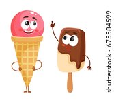 two funny ice cream characters  ... | Shutterstock .eps vector #675584599