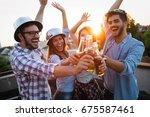 happy cheerful friends spending ...   Shutterstock . vector #675587461
