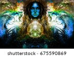 goddess woman and tiger in... | Shutterstock . vector #675590869