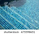 clear swimming pool with steps... | Shutterstock . vector #675598651