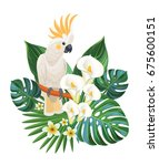 tropical flowers and cockatoo.... | Shutterstock .eps vector #675600151