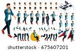 isometric set of gestures of... | Shutterstock .eps vector #675607201