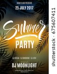 summer party flyer in sunset... | Shutterstock .eps vector #675607411