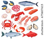 vector icons of mussel  fish... | Shutterstock .eps vector #675607615