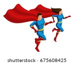 isometric superheroes man and... | Shutterstock .eps vector #675608425