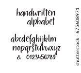 modern calligraphy alphabet.... | Shutterstock .eps vector #675608971
